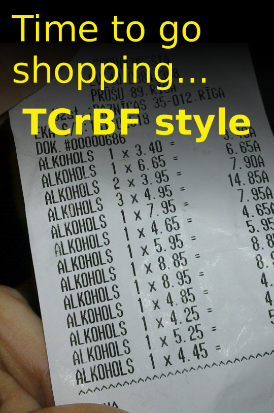 [IMG: Shopping Time, TCrBF Style - receipt for plenty of ALKOHOLS]