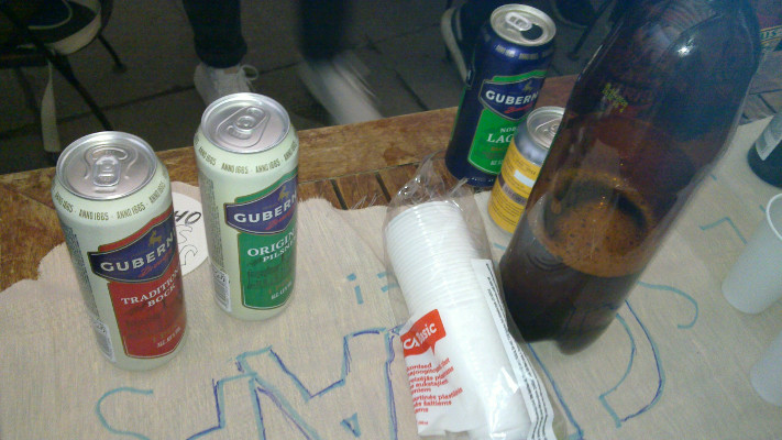 [IMG: Some of the drinks on CRA... table covering]