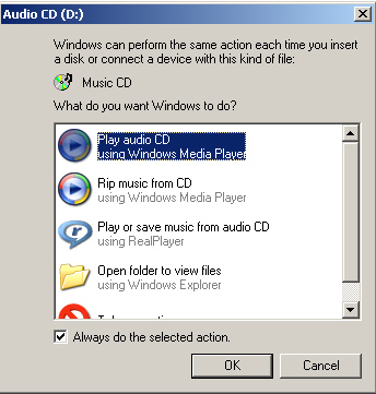 Windows can perform the same action every time you insert a disk or connect a device with this kind of file...