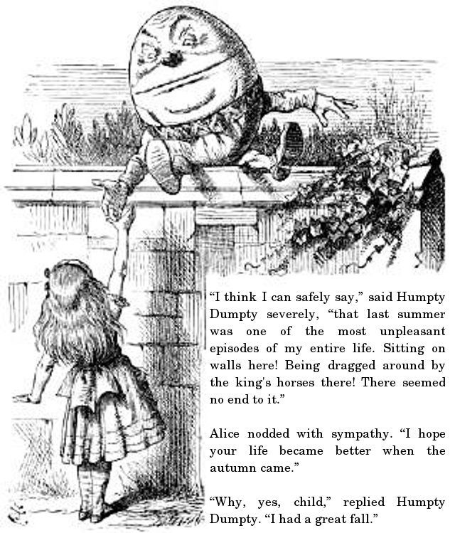 """I think I can safely say,"" said Humpty Dumpty severely, ""that last summer was one of the most unpleasant episodes of my entire life. Sitting on walls here! Being dragged around by the king's horses there! There seemed no end to it."" Alice nodded with sympathy. ""I hope your life became better when the autumn came."" ""Why, yes, child,"" replied Humpty Dumpty. ""I had a great fall."""