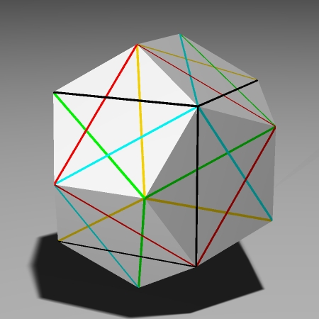 building a dodecahedron with the cube edges marked